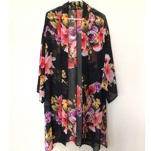 Fashion Nova Black Floral Kimono